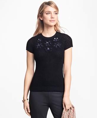 Brooks Brothers Floral-Embellished Raglan Sweater