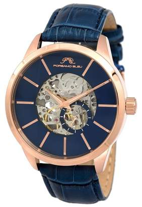 Porsamo Bleu Men's Cassius Skeleton Leather Strap Watch, 45mm