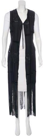 Dolce & GabbanaDolce & Gabbana Velvet-Trimmed Fringed Vest