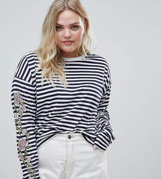 Asos Design Curve Striped Long Sleeve T-Shirt With Rose Embroidery