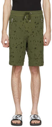Diesel Khaki Bir Distressed Lounge Shorts