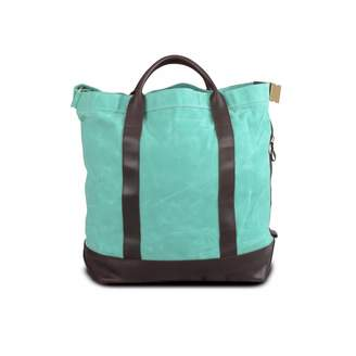 EAZO - Waxed Canvas Tote Shoulder Bag Turquoise