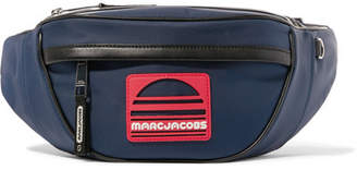 Marc Jacobs Logo-appliquéd Leather-trimmed Canvas Belt Bag - Navy