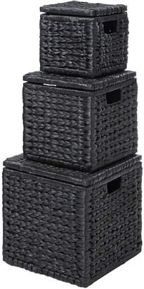 Very Set of 3 Nested Lidded Arrow Weave Storage Boxes