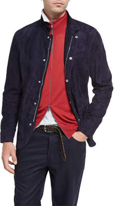 Brunello Cucinelli Lamb Suede Jacket, Navy