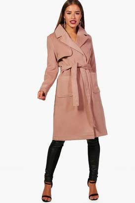 boohoo Petite Lacey Military Style Wool Look Trench