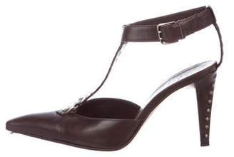 Sergio Rossi Studded Leather T-Strap Pumps