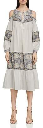 BCBGMAXAZRIA Embroidered Cold-Shoulder Dress