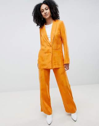 Gestuz Orange Wide Leg Pants With Feather Pattern