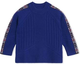 Burberry Check Detail Wool Cashmere Sweater