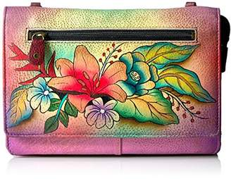Anuschka Anna by Hand Painted Leather Organizer Wallet On String | Tropical Bouquet