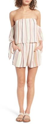 Women's Bp. Stripe Off The Shoulder Romper $49 thestylecure.com