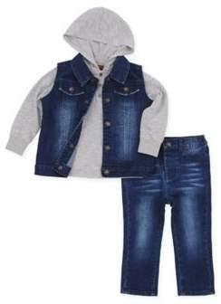 3-Piece Hooded Tee, Denim Vest and Pant Set