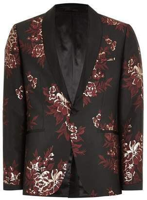 Topman Mens Metallic Red And Gold Jacquard Skinny Suit Jacket
