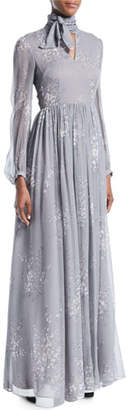 Co Tie-Neck Long-Sleeve Floral-Print Silk Crinkled Chiffon Long Dress