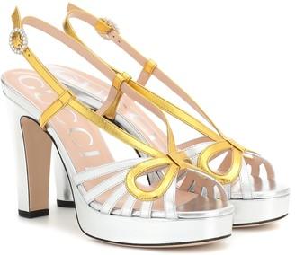 Gucci Metallic leather plateau sandals