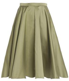 Rochas Pleated Duchesse-Satin Skirt