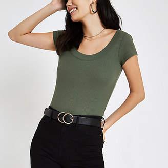 River Island Womens Khaki green ribbed scoop neck T-shirt