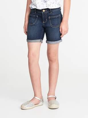 Old Navy Braided-Pocket Denim Midi Shorts for Girls