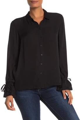 Go Silk Go by Get Ruffled Button Front Silk Blouse