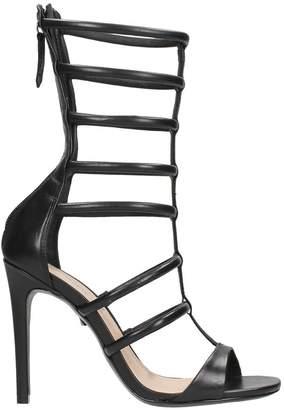 Schutz Black Leather Gladiator Sandals