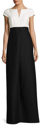 Halston Colorblocked Split Boat Neck Gown