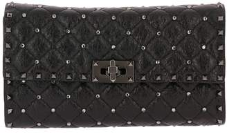 Valentino GARAVANI Clutch Rockstud Spike Clutch Small In Quilted Nappa Leather With Metal Studs And Rhinestones