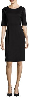 LIZ CLAIBORNE Liz Claiborne Elbow-Sleeve Faux Leather and Lace Detail Sheath Dress $72 thestylecure.com