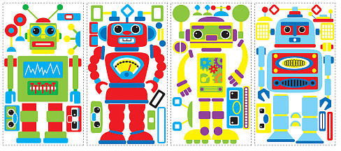 York Wall Coverings RoomMates Build Your Own Robot Peel & Stick Wall Decals