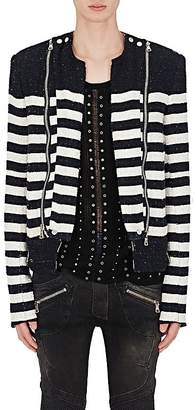 Balmain Men's Striped Cotton-Blend Bouclé Biker Jacket