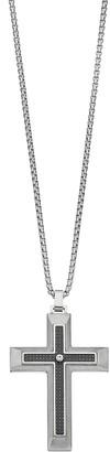 Lynx LYNXMen's Stainless Steel Carbon Fiber & Cubic Zirconia Cross Pendant Necklace