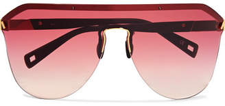 Westward Leaning Vibe D-frame Matte-acetate And Gold-tone Sunglasses - Red