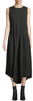 Vince Striped Sleeveless Self-Tie Midi Dress