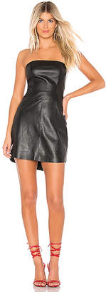 Karina Grimaldi Phoebe Leather Mini Dress