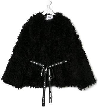 MSGM TEEN furry belted jacket