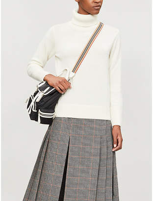 Burberry Womens White Knitted Turtleneck Cashmere Jumper