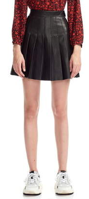 Maje Jabaki Pleated Leather Miniskirt