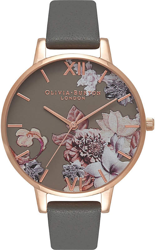674263 Floral rose gold-plated leather watch