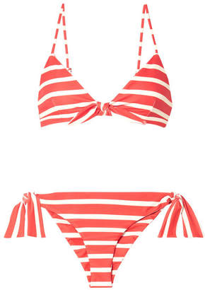 Faithfull The Brand Taylor And Elsa Striped Triangle Bikini - Red