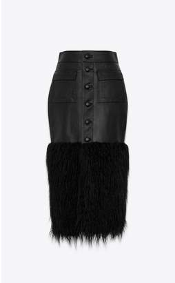 Saint Laurent Long Buttoned Skirt In Shiny Grained Lambskin And Faux Fur