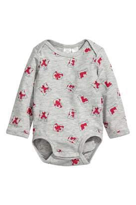 H&M Long-sleeved Bodysuit - Light gray/Sesame Street - Kids