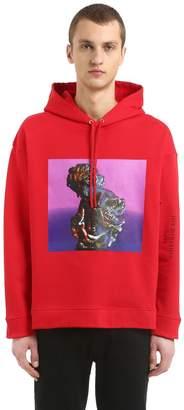Raf Simons Hooded Print Cotton Jersey Sweatshirt
