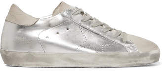 Golden Goose Superstar Distressed Metallic Leather And Suede Sneakers - Silver