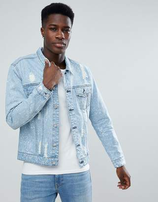 ONLY & SONS Denim Jacket With Bleaching And Distress