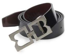 Bruno Magli Double-Buckle Patent Leather Belt