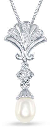 ENCHANTED FINE JEWELRY BY DISNEY Enchanted Disney Fine Jewelry Cultured Freshwater Pearl & 1/10 C.T. T.W. Diamond Ariel Shell Pendant Necklace In Sterling Silver