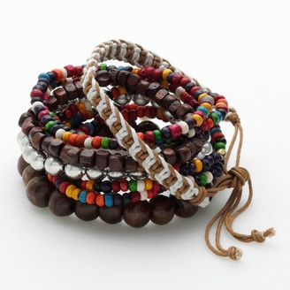 Mudd Wood Bead & Woven Cord Stretch Bracelet Set