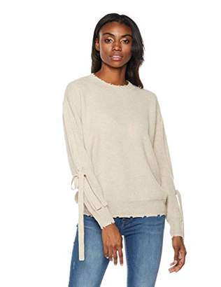 Premium Soft Solid Knit Pollover Ribbon Sleeve Casual Sweater for Women