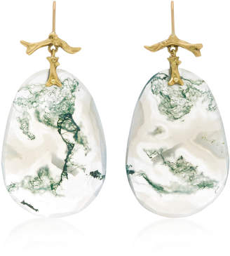 18K Gold Moss Agate Earrings