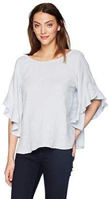 Velvet by Graham & Spencer Women's Alberta Linen Ruffle Shortsleeve top